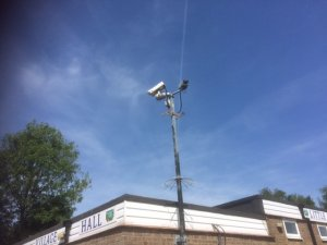 picture of a security camera outside the village hall